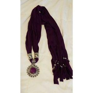 Purple scarf with silver pendant, diamond accent